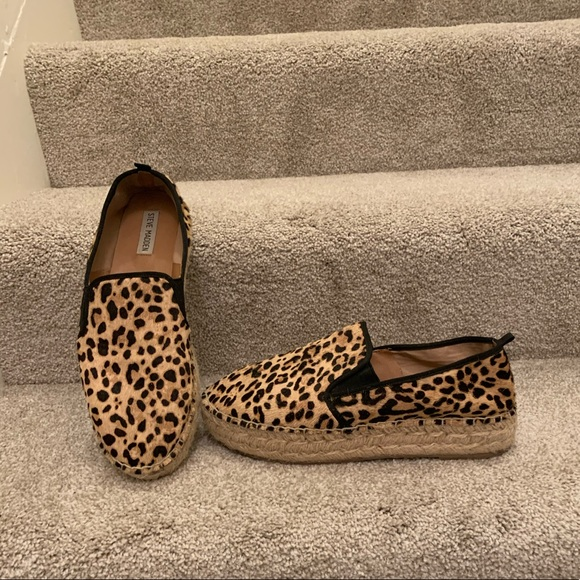 Leopard Print Espadrille Slip Ons